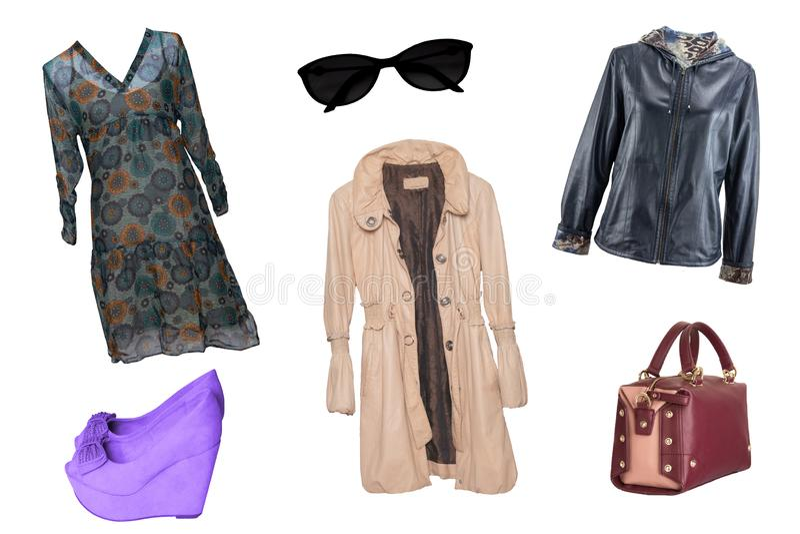 Vestiti della donna del collage Metta dei vestiti alla moda e d'avanguardia a delle donne immagine stock