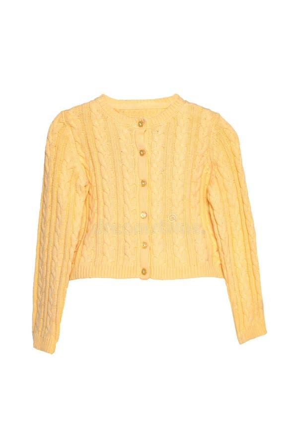 Vestiti delle ragazze Bello maglione giallo festivo della bambina o cardigan tricottato isolato su un fondo bianco Bambini e bamb immagine stock