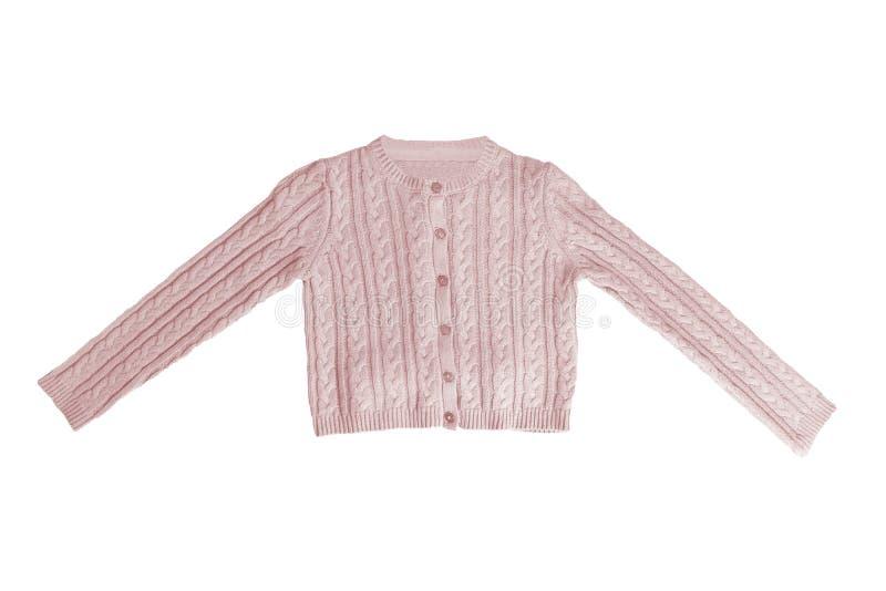 Vestiti delle ragazze Bello maglione rosa festivo della bambina o cardigan tricottato isolato su un fondo bianco Bambini e bambin immagini stock libere da diritti