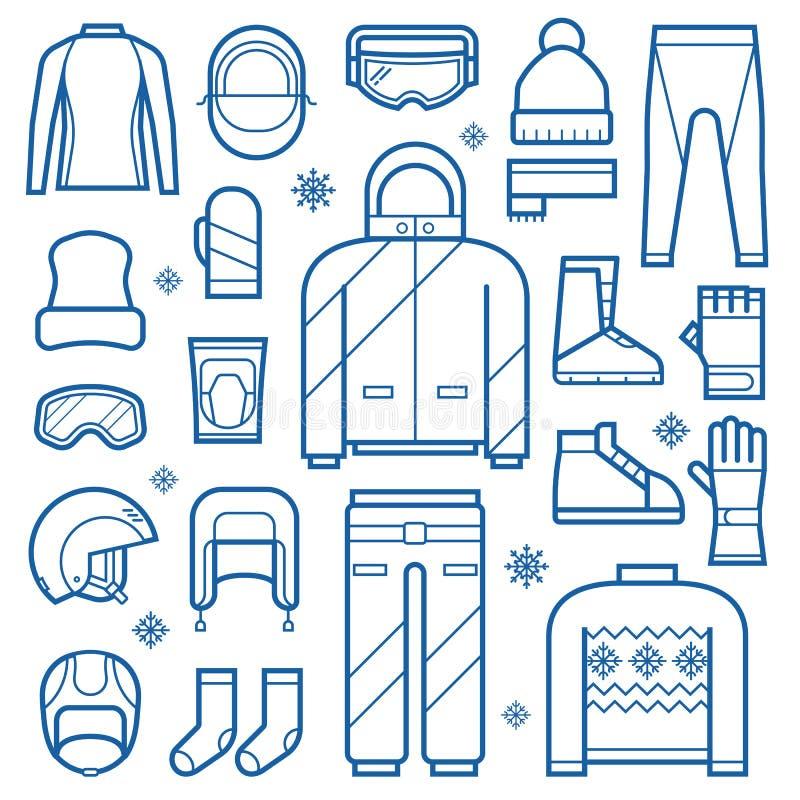 Vestiti di inverno ed icone di Accessries illustrazione di stock