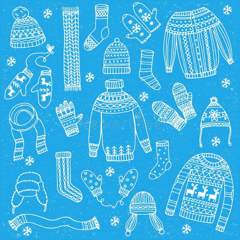 Vestiti di inverno messi illustrazione vettoriale