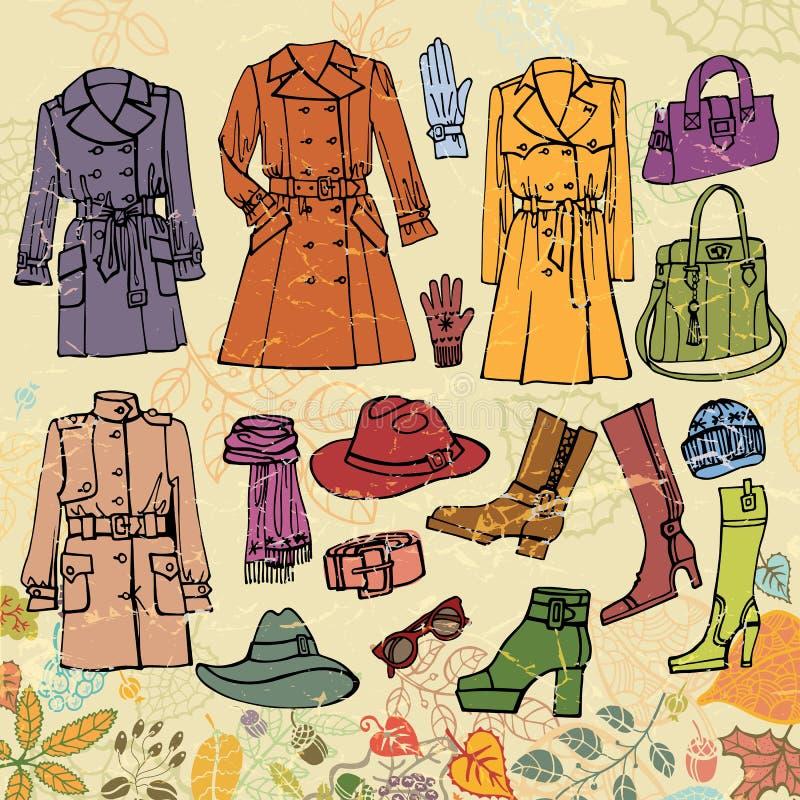 Vestiti di modo impostati Usura di donna di autunno, foglie royalty illustrazione gratis