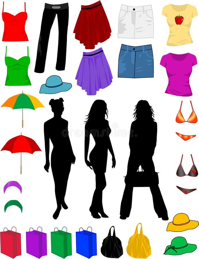 Vestiti ed accessori di modo illustrazione vettoriale