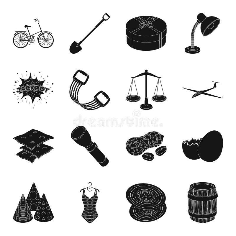 Vestiti, forma fisica, trasporto e l'altra icona di web nello stile nero royalty illustrazione gratis