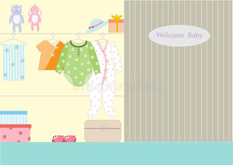 Vestiti per il bambino in guardaroba, illustrazioni illustrazione vettoriale