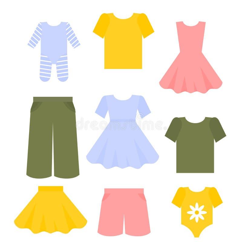 Vestiti piani dei bambini messi Raccolta di modo dell'attrezzatura dei bambini Vestito, pantaloni e maglietta royalty illustrazione gratis