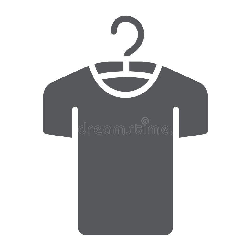 Vestiti sull'icona di glifo del gancio, sul modo e sull'abbigliamento, maglietta sul segno del gancio, grafica vettoriale, un mod royalty illustrazione gratis