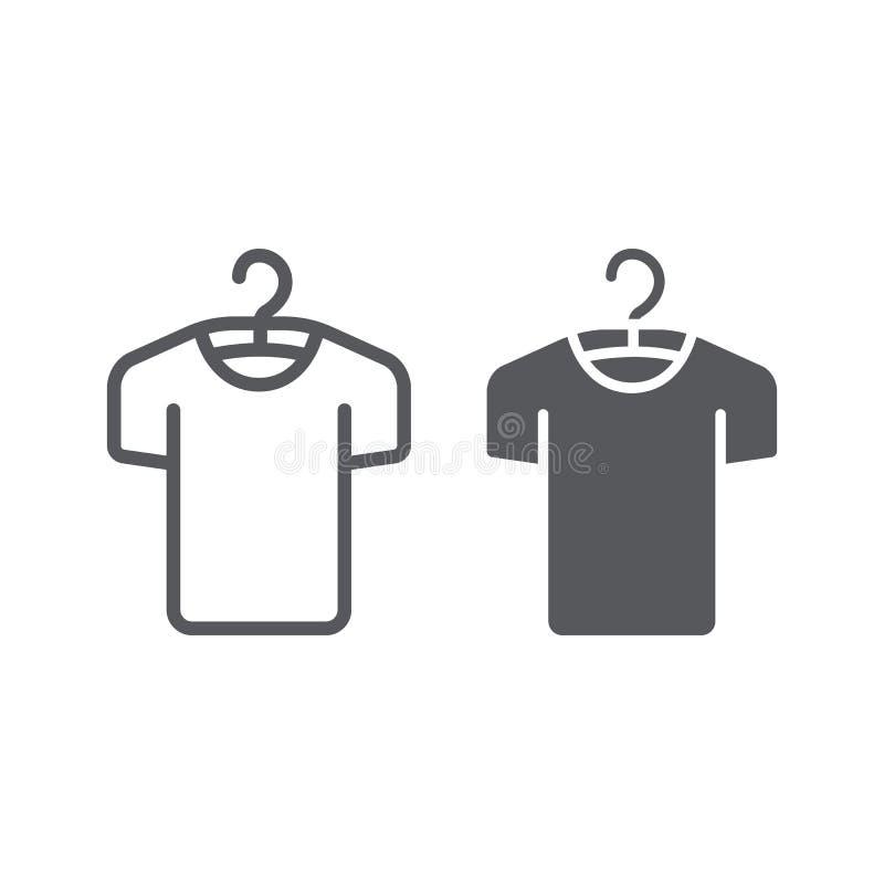 Vestiti sulla linea del gancio ed icona di glifo, modo e abbigliamento, maglietta sul segno del gancio, grafica vettoriale, un mo illustrazione di stock
