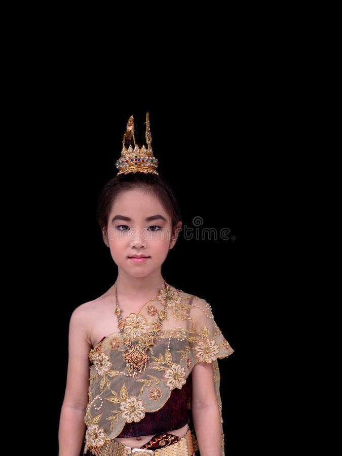 Vestito asiatico dalla ragazza del bambino il vestito tradizionale tailandese, Nationa immagine stock libera da diritti