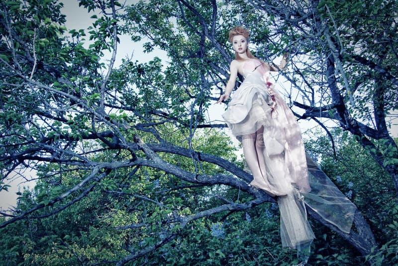 Vestito bianco da portare dalla signora con le rose in legno immagine stock libera da diritti
