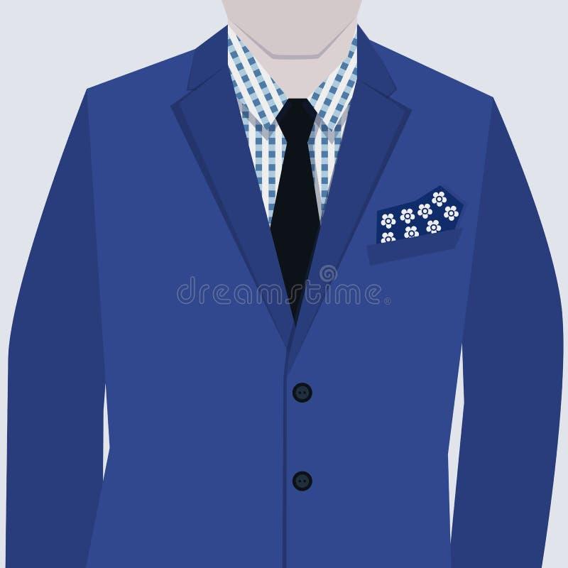 Vestito blu alla moda maschio con la camicia a quadretti illustrazione vettoriale