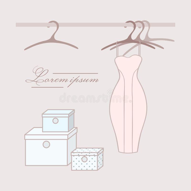Vestito con i ganci in guardaroba illustrazione di stock