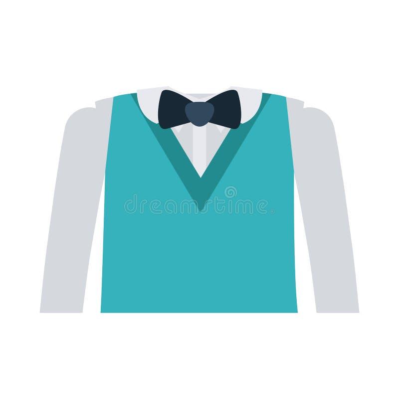 Vestito convenzionale con la cravatta a farfalla e le maniche lunghe illustrazione di stock