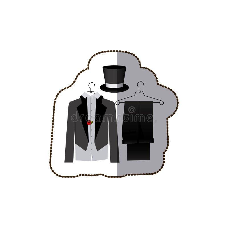 vestito convenzionale del costume variopinto dell'autoadesivo con lo sposo del cappello illustrazione di stock