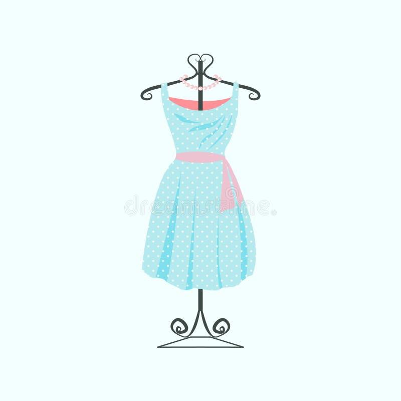 Vestito d'annata dal pois illustrazione vettoriale