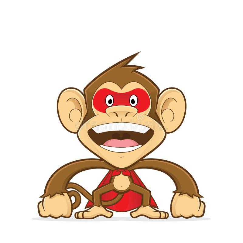 Vestito d'uso del supereroe della scimmia illustrazione di stock