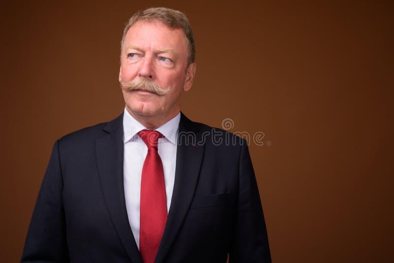Vestito d'uso e legame dell'uomo d'affari senior bello mentre pensando fotografie stock libere da diritti