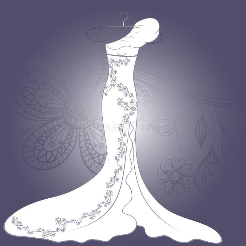 Vestito da cerimonia nuziale con il reticolo floreale royalty illustrazione gratis