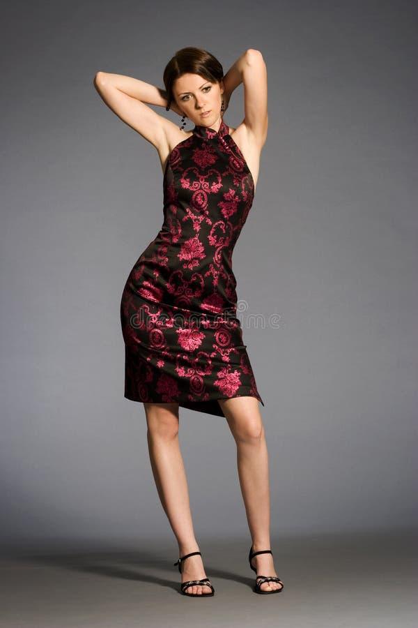 Vestito da portare dal Brunette immagini stock