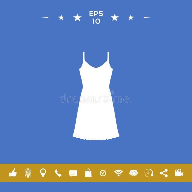 Vestito da sera, da prendisole, combinazione o camicia da notte, la siluetta Voce di menu nel web design royalty illustrazione gratis