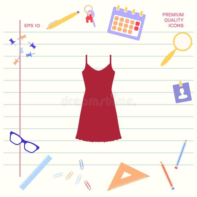 Vestito da sera, da prendisole, combinazione o camicia da notte, la siluetta Voce di menu nel web design Elementi grafici per il  illustrazione di stock