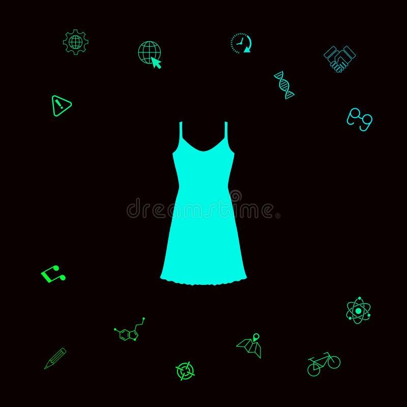 Vestito da sera, da prendisole, combinazione o camicia da notte, la siluetta Voce di menu nel web design Elementi grafici per il  illustrazione vettoriale