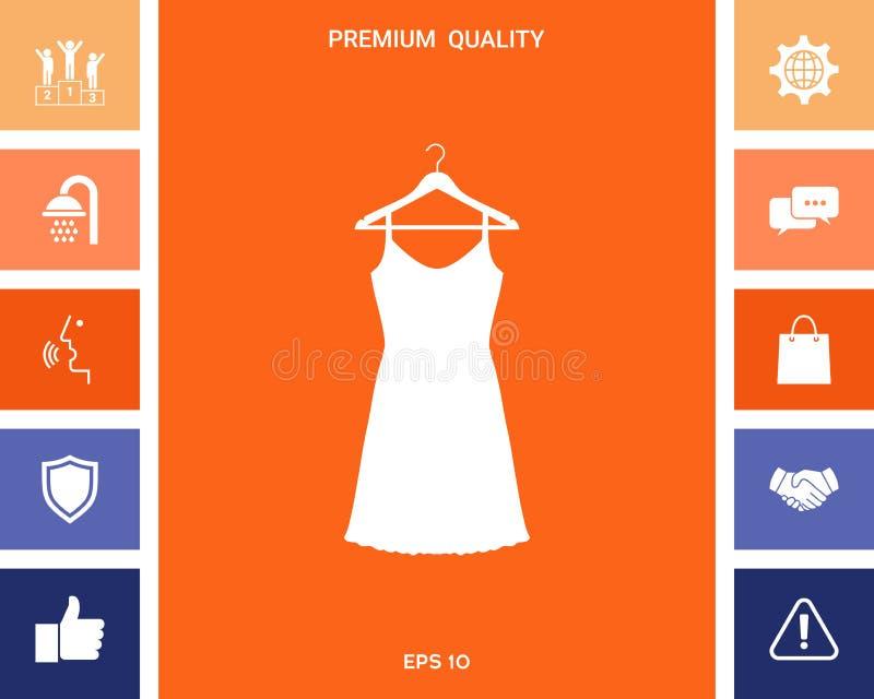 Vestito da sera, da prendisole, combinazione o camicia da notte sul gancio del guardaroba, la siluetta Voce di menu nel web desig royalty illustrazione gratis