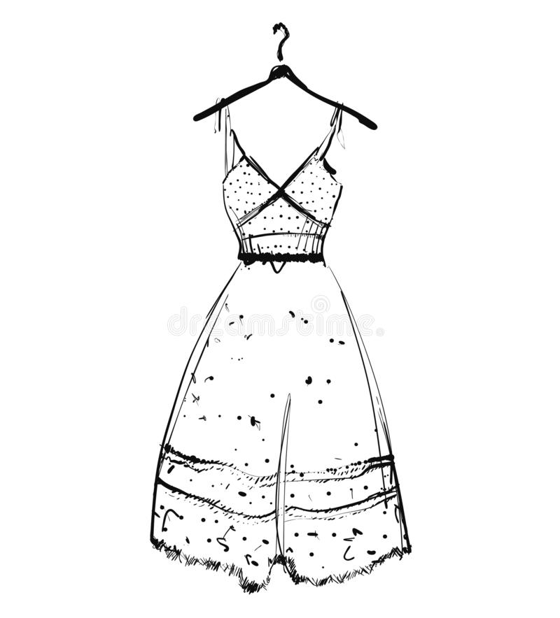Vestito da sposa su un gancio, illustrazione di vettore abbozzo immagine stock libera da diritti