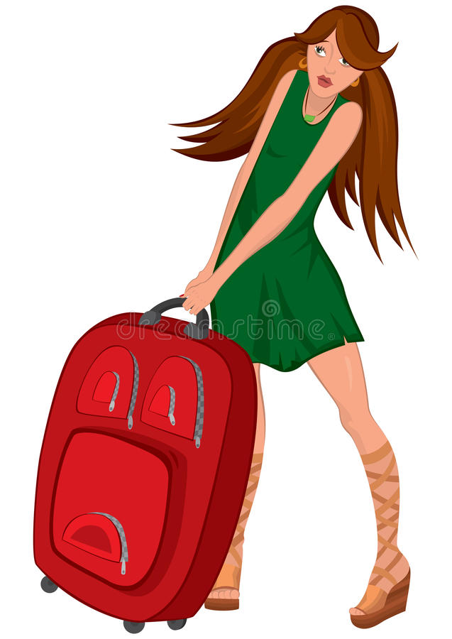 Vestito da verde della giovane donna del fumetto e valigia rossa illustrazione vettoriale