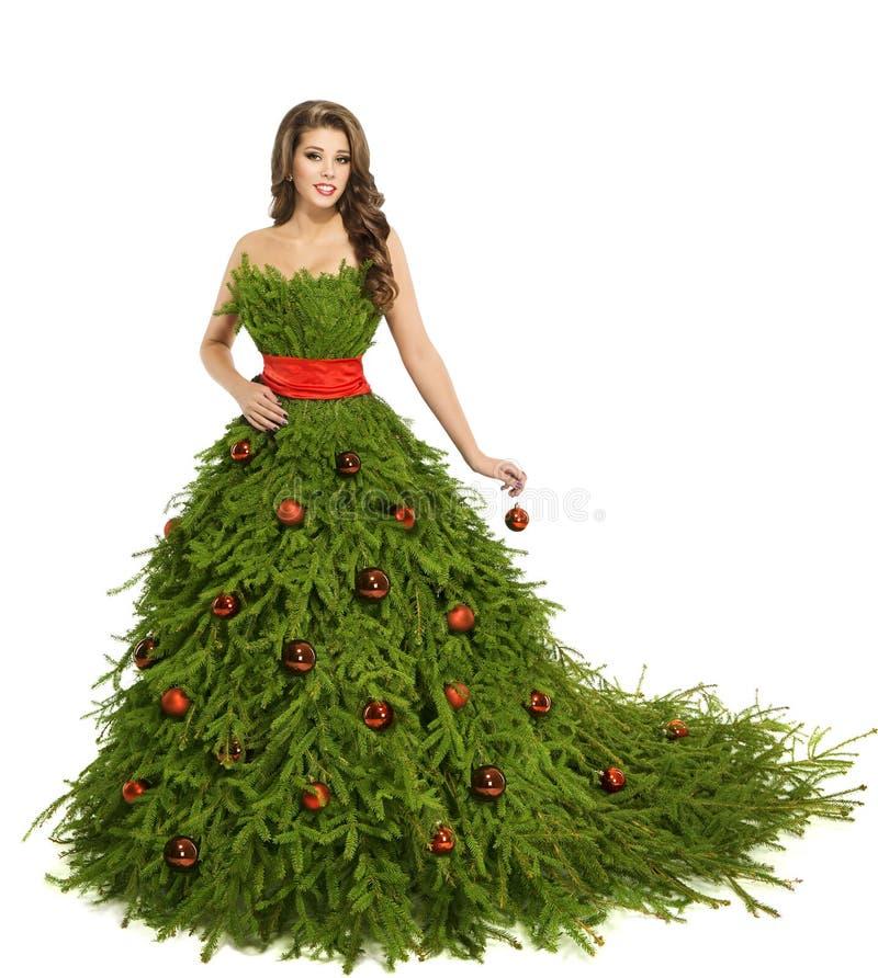 Vestito dalla donna dell'albero di Natale, modello di moda su bianco, ragazza di natale fotografia stock libera da diritti