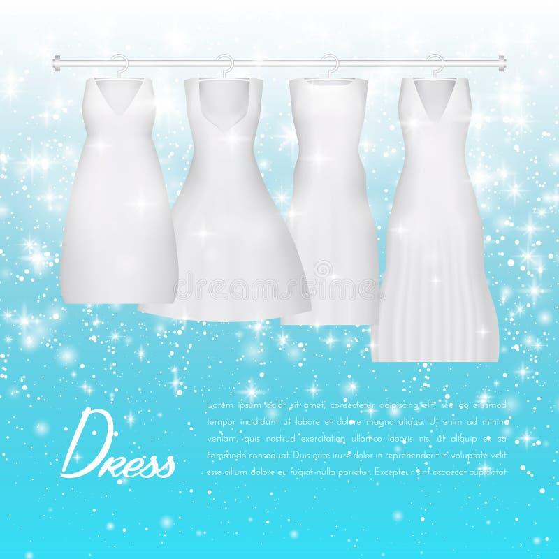 Vestito dalla sposa di nozze Abito di nozze bianco di bello modo vestiti di sera della donna di eleganza per il partito o l'event illustrazione vettoriale