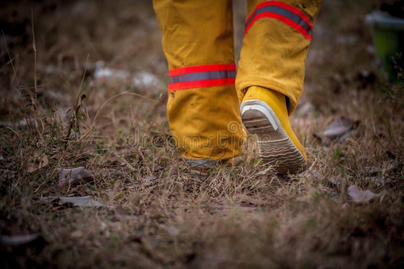 Vestito del pompiere che cammina sull'erba immagine stock