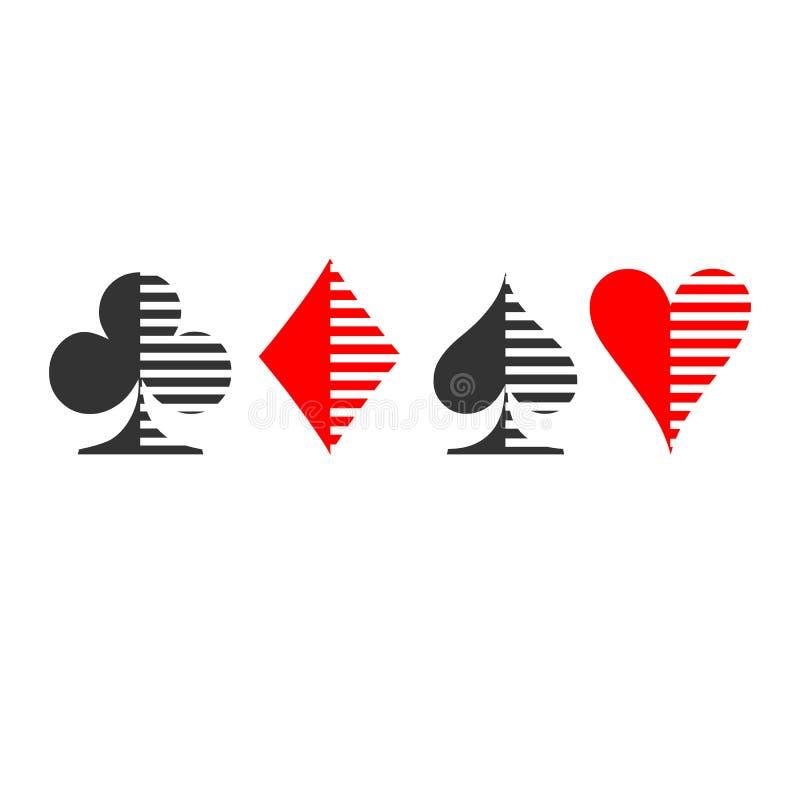 Vestito della scacchiera Cardi il vettore dell'icona del vestito, vettore di simboli delle carte da gioco illustrazione di stock