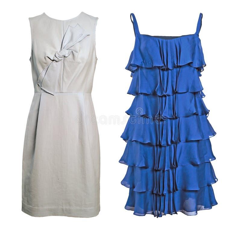 Vestito di seta blu e bianco immagini stock
