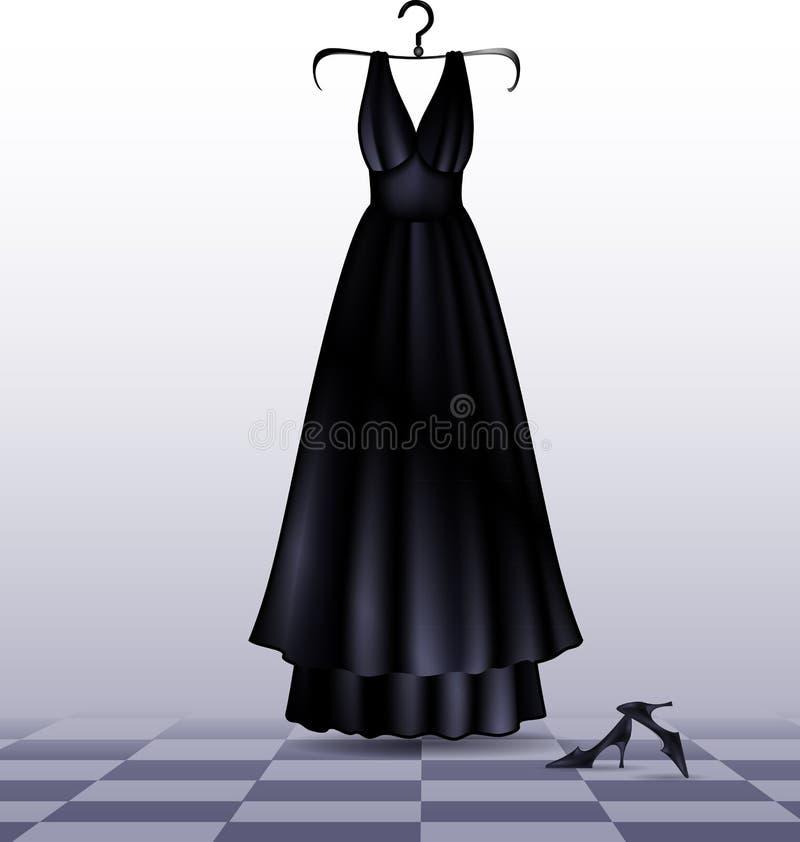Vestito e scarpe neri illustrazione vettoriale