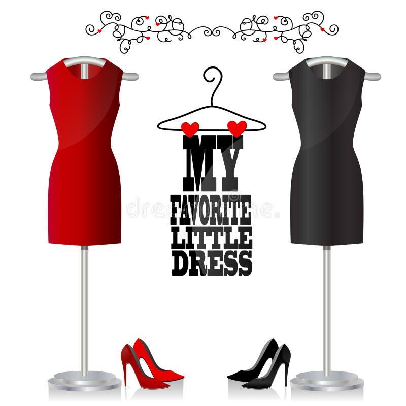 Vestito e scarpe neri e rossi illustrazione vettoriale