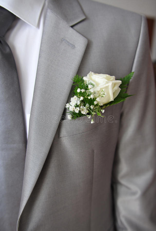 Vestito grigio di uno sposo immagini stock libere da diritti