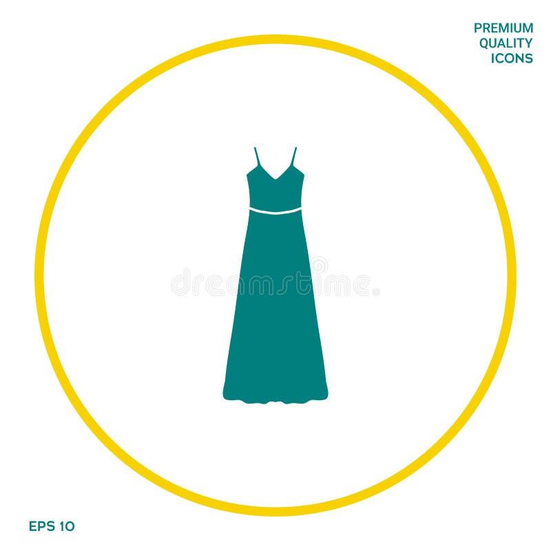 Vestito lungo da sera, dal vestito o prendisole con la cinghia, la siluetta Voce di menu nel web design illustrazione vettoriale