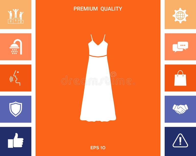 Vestito lungo da sera, dal vestito o prendisole con la cinghia, la siluetta Voce di menu nel web design illustrazione di stock