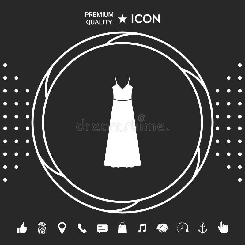 Vestito lungo da sera, dal vestito o prendisole con la cinghia, la siluetta Voce di menu nel web design Elementi grafici per illustrazione vettoriale