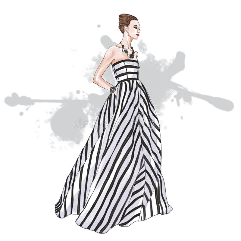 vestito lungo a strisce d'uso dal modello di moda royalty illustrazione gratis