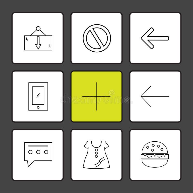 vestito, messaggio, non permesso, hamburger, icone dell'interfaccia utente illustrazione vettoriale