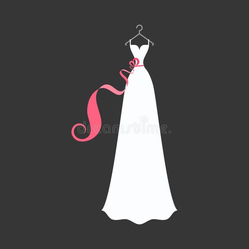 Vestito nuziale su un gancio illustrazione di stock