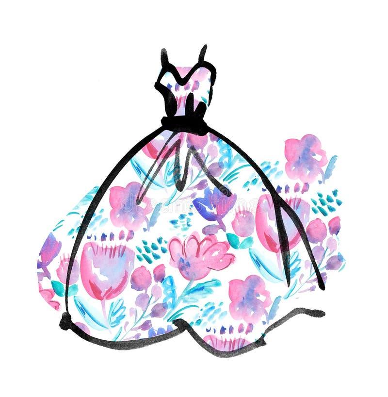 Vestito operato con il modello floreale royalty illustrazione gratis
