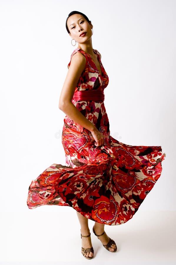 Vestito rosso Stunning fotografie stock
