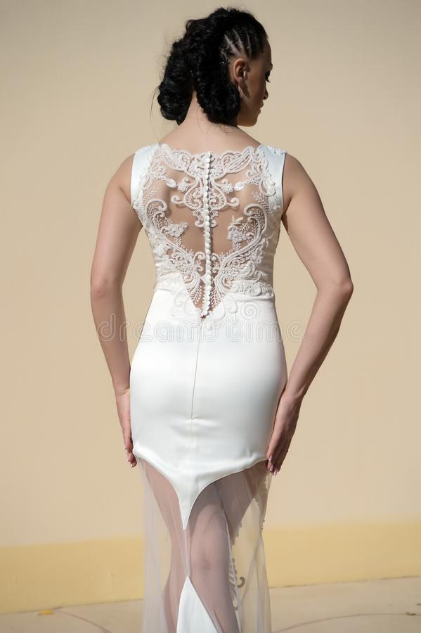 Vestito stupefacente L'acconciatura della donna porta il vestito aderente alla moda con ricamo e le perle Signora in attrezzatura immagini stock libere da diritti