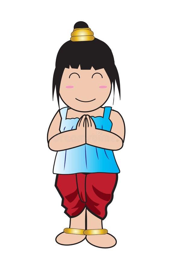 Vestito tailandese dalla ragazza illustrazione vettoriale