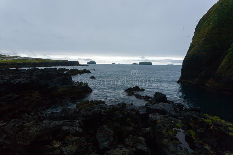 Vestmannaeyjar island beach day view, Iceland landscape.Surtsey island stock photo