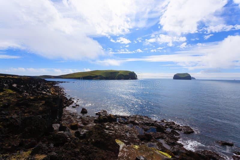 Vestmannaeyjar island beach day view, Iceland landscape.Surtsey island royalty free stock images