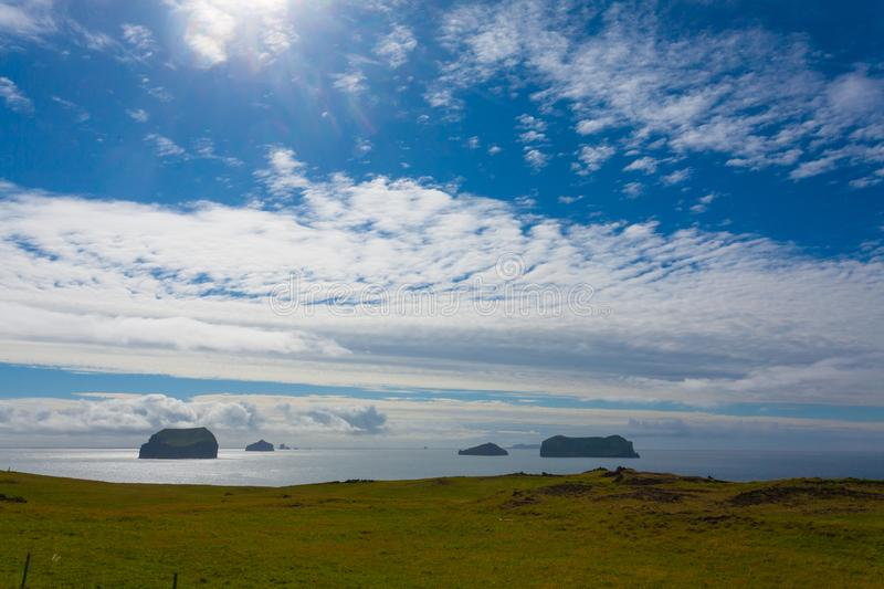 Vestmannaeyjar island beach day view, Iceland landscape royalty free stock images